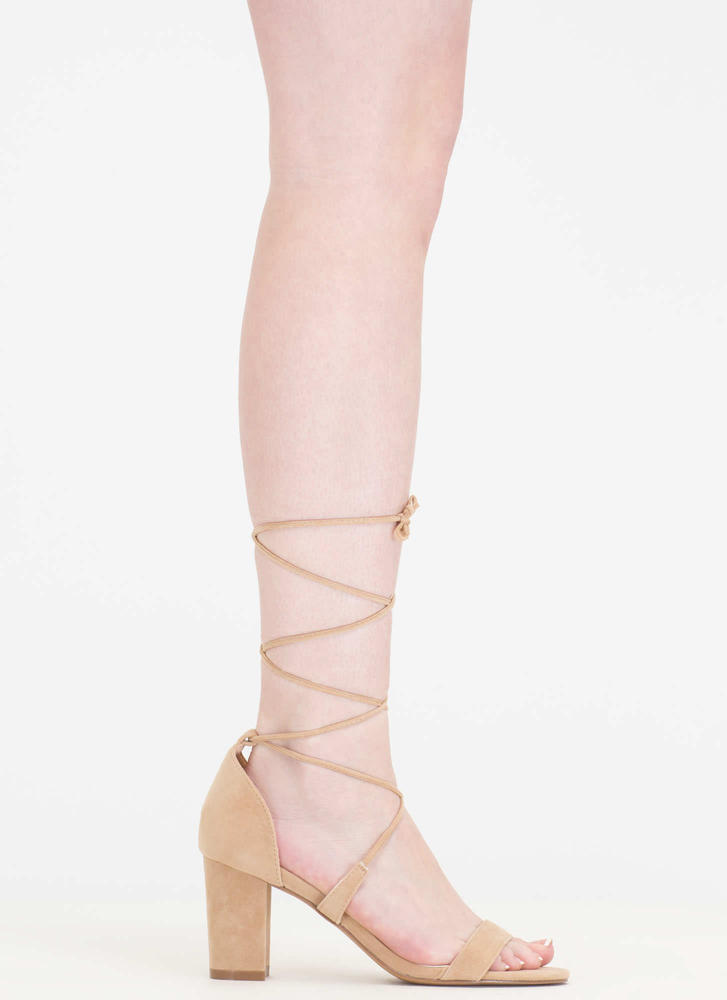 Lace Closed Strappy Block Heels NUDE