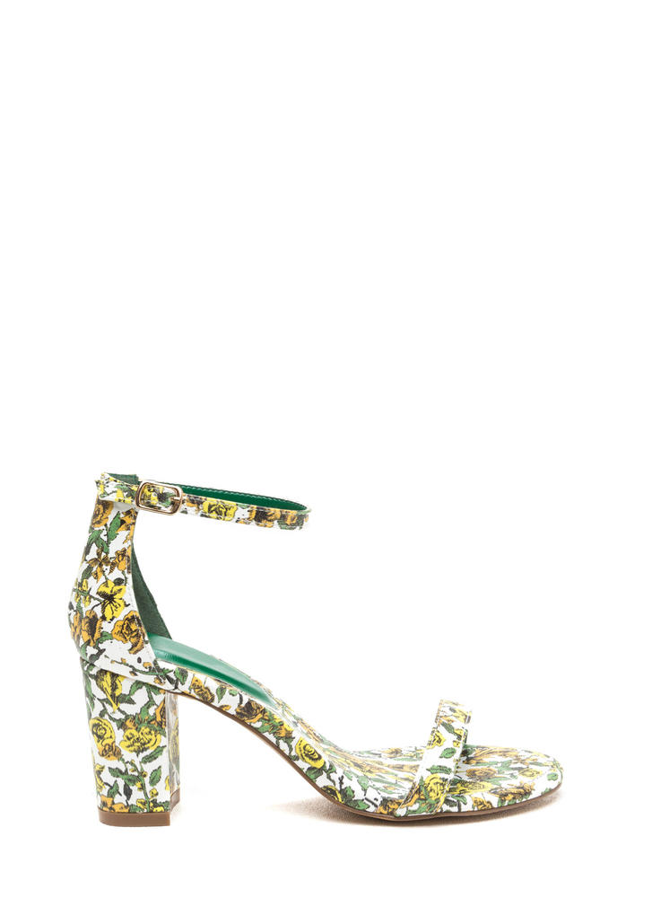 Green Thumb Chunky Strappy Floral Heels GREEN