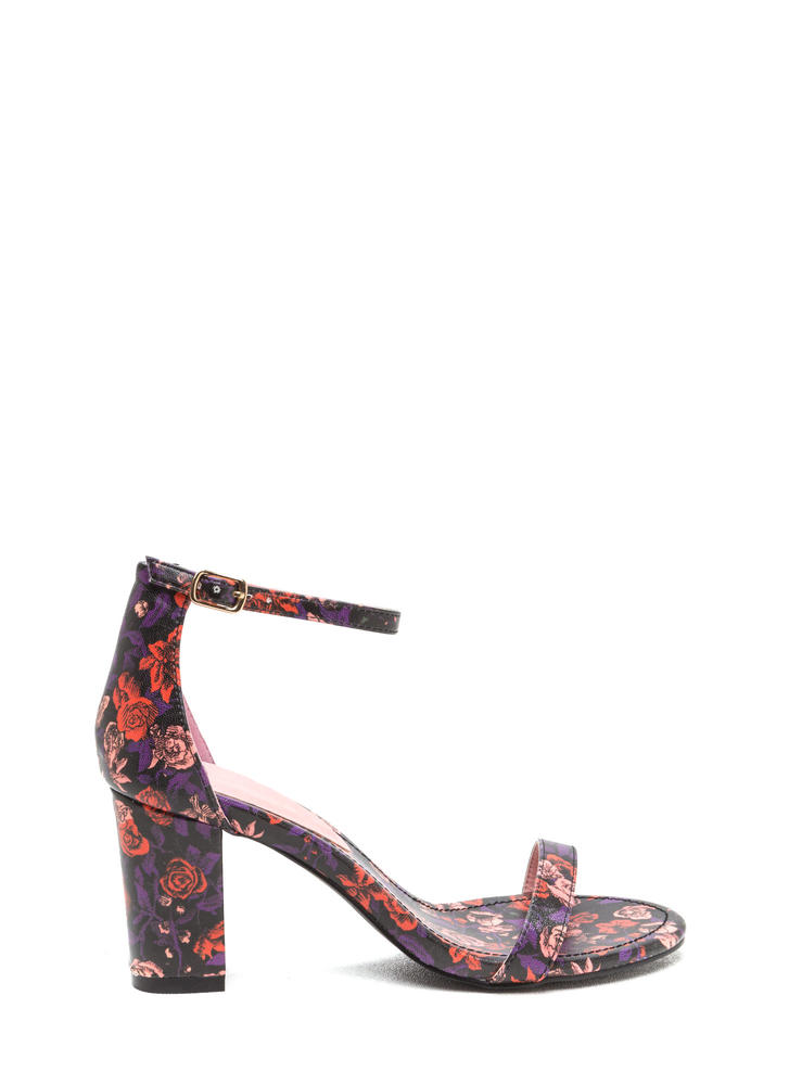 Green Thumb Chunky Strappy Floral Heels RED