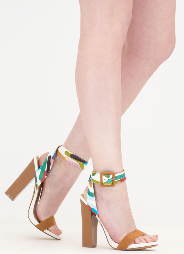 The Line Print Chunky Strappy Heels