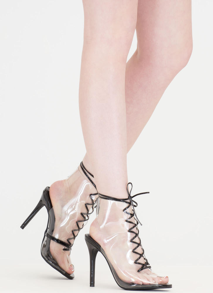 Clearing Up Faux Patent Lace-Up Heels BLACK