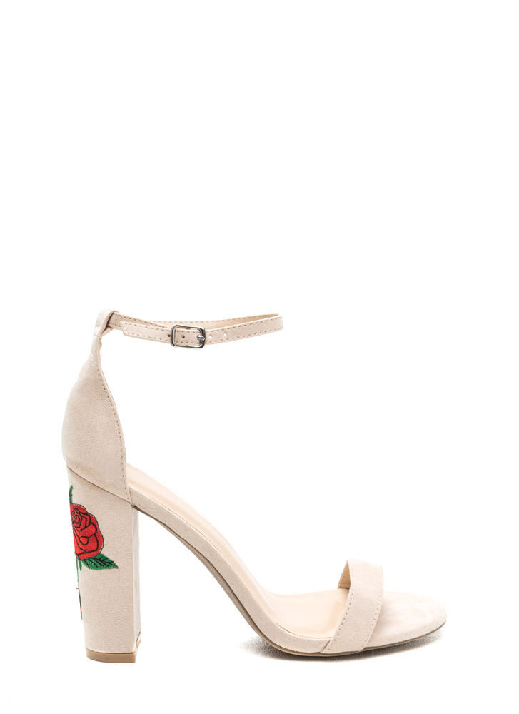 Rose Garden Chunky Faux Suede Heels
