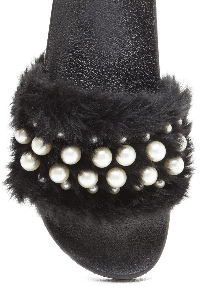 Diving For Pearls Faux Fur Slide Sandals BLACK