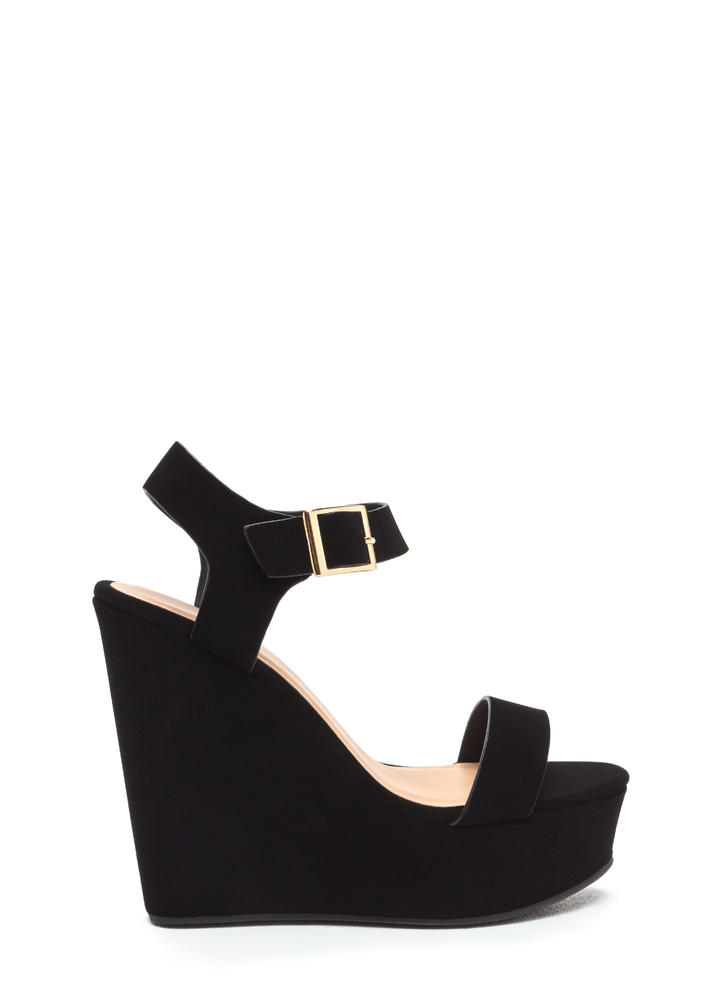 Single Life Faux Nubuck Platform Wedges