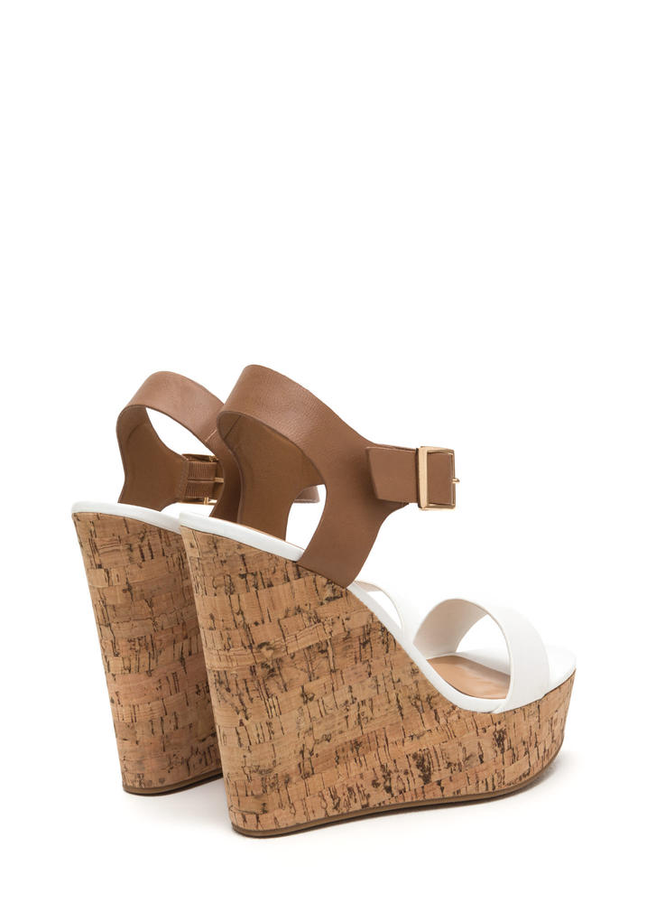Single Life Two-Tone Cork Platform Wedges WHITE