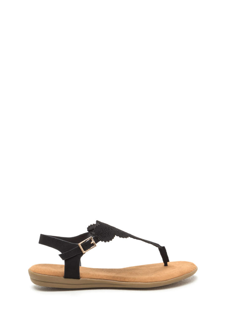 Lace Time Cut-Out Strappy Sandals BLACK
