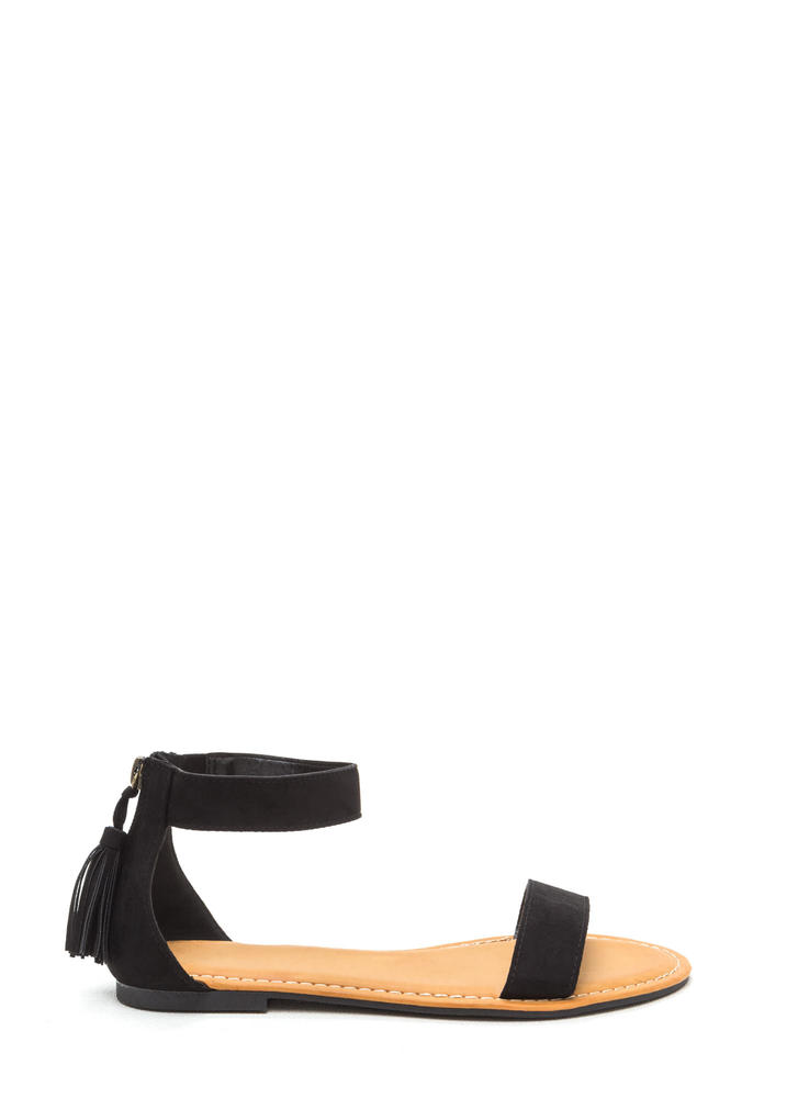 Tasseled Touch Faux Suede Sandals BLACK