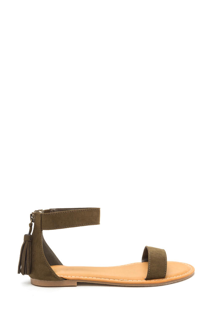 Tasseled Touch Faux Suede Sandals OLIVE