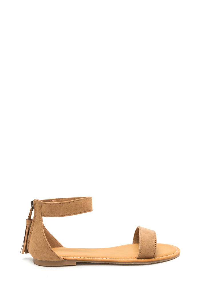 Tasseled Touch Faux Suede Sandals TAN
