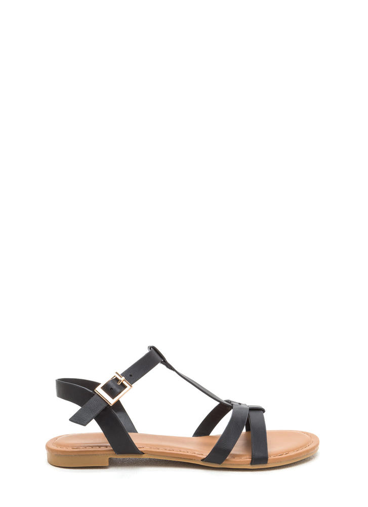 Sunny Day Faux Leather T-Strap Sandals BLACK