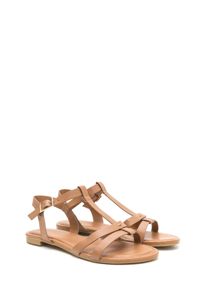 Sunny Day Faux Leather T-Strap Sandals TAN