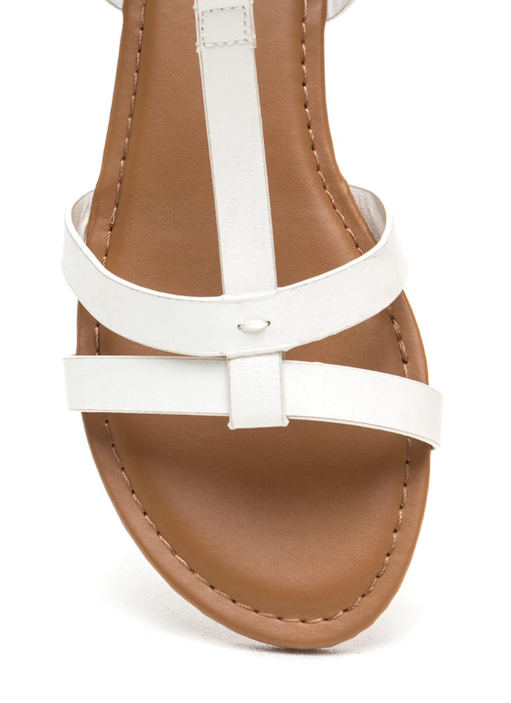 Sunny Day Faux Leather T-Strap Sandals WHITE