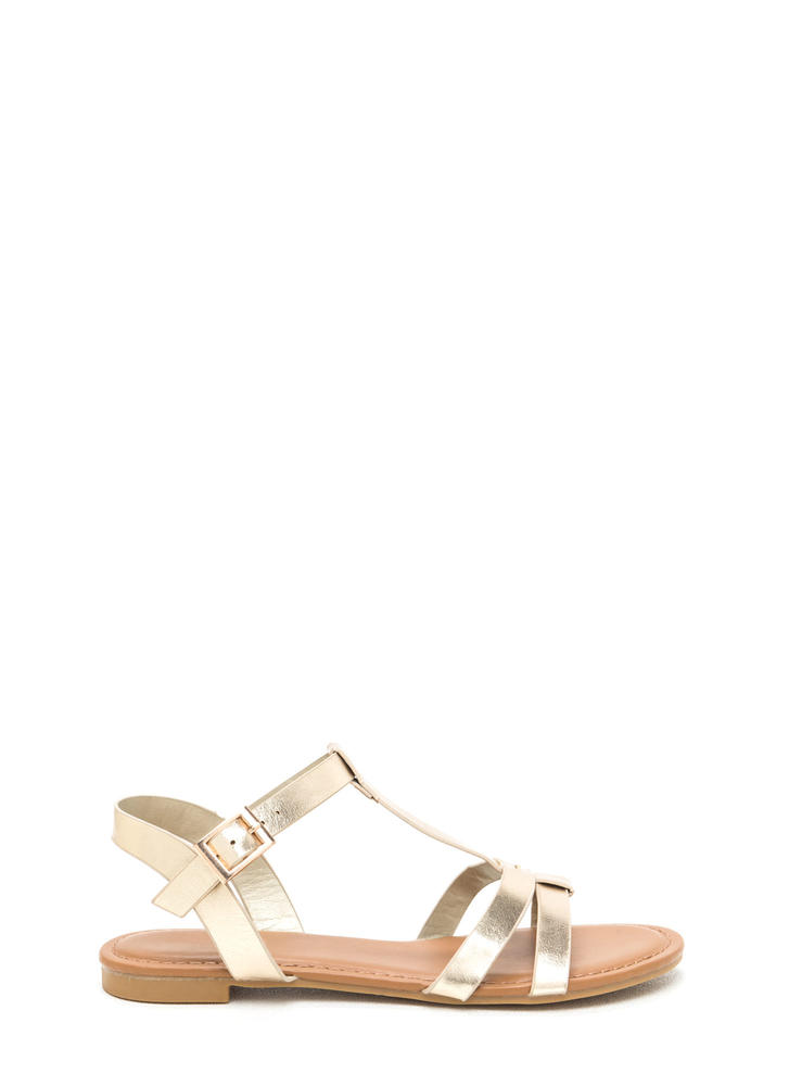 Sunny Day Metallic T-Strap Sandals