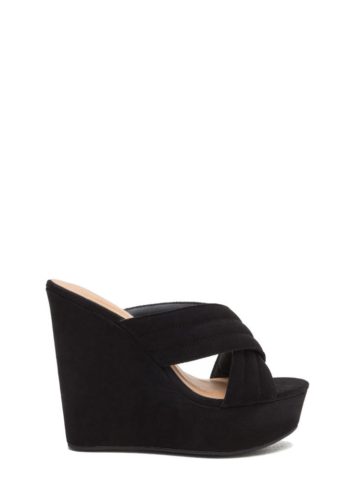 Cross My Heart Platform Wedges BLACK