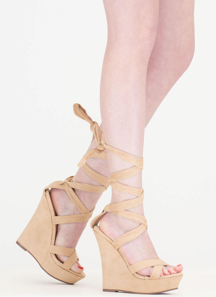 Strap Happy Faux Suede Lace-Up Wedges