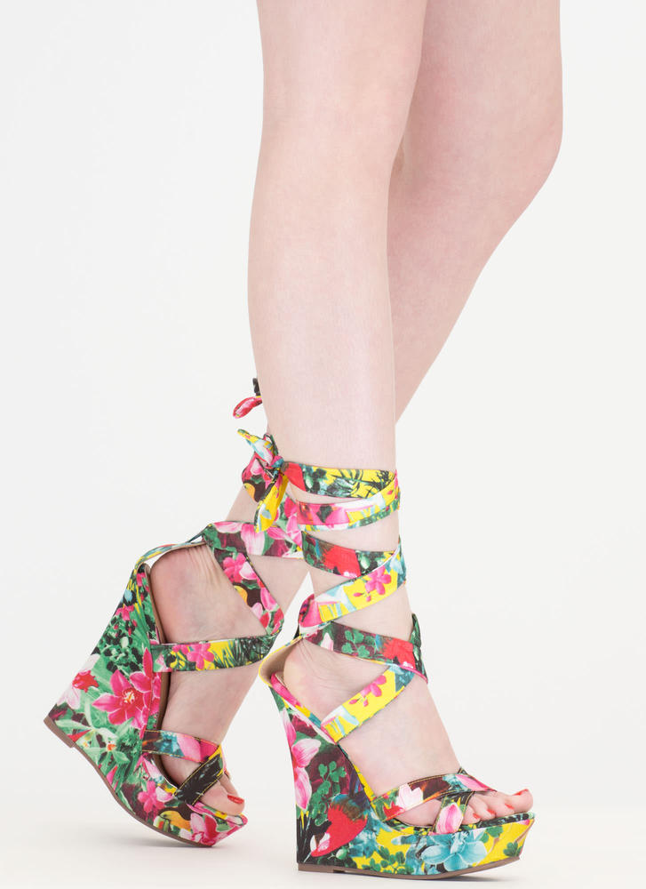 Strap Happy Floral Print Lace-Up Wedges
