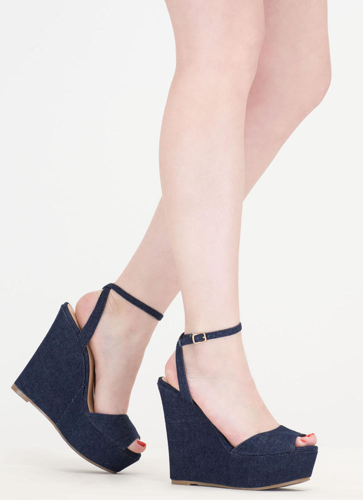 Peep These Denim Platform Wedges DENIM