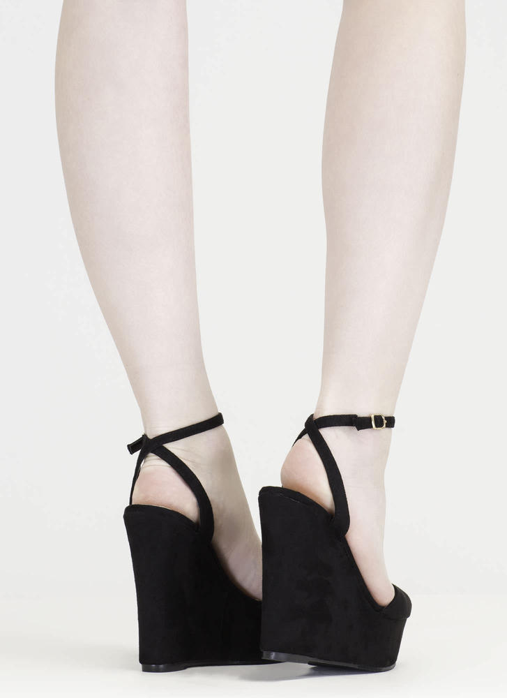 Peep These Faux Suede Platform Wedges BLACK