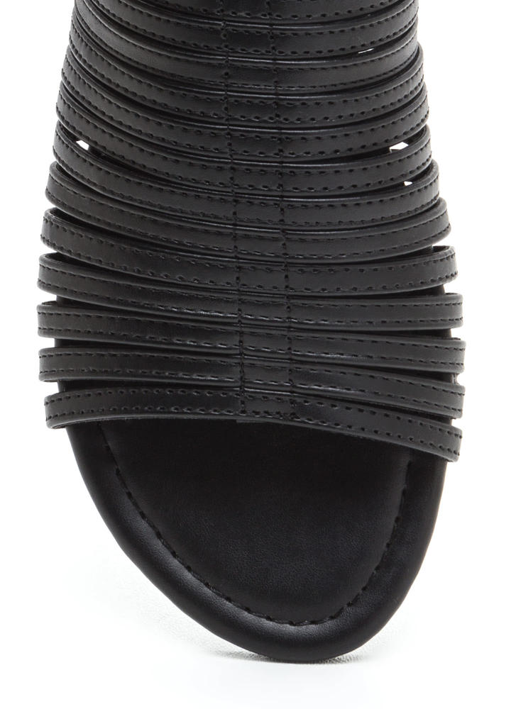 Stacked In Your Favor Strappy Sandals BLACK
