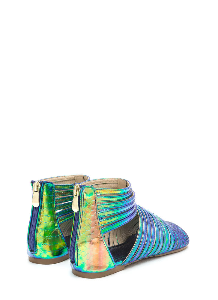 Stacked In Your Favor Scaled Sandals GREEN
