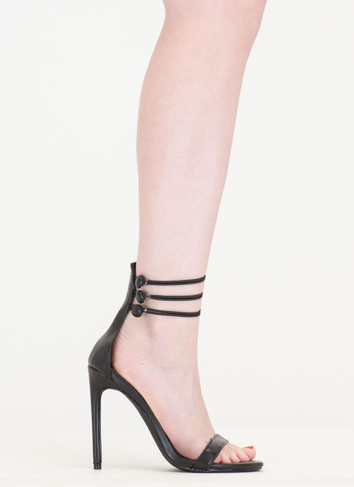 In The Loop Strappy Buttoned Heels BLACK