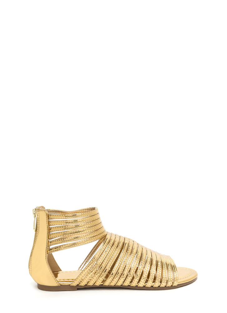 Stacked In Your Favor Metallic Sandals