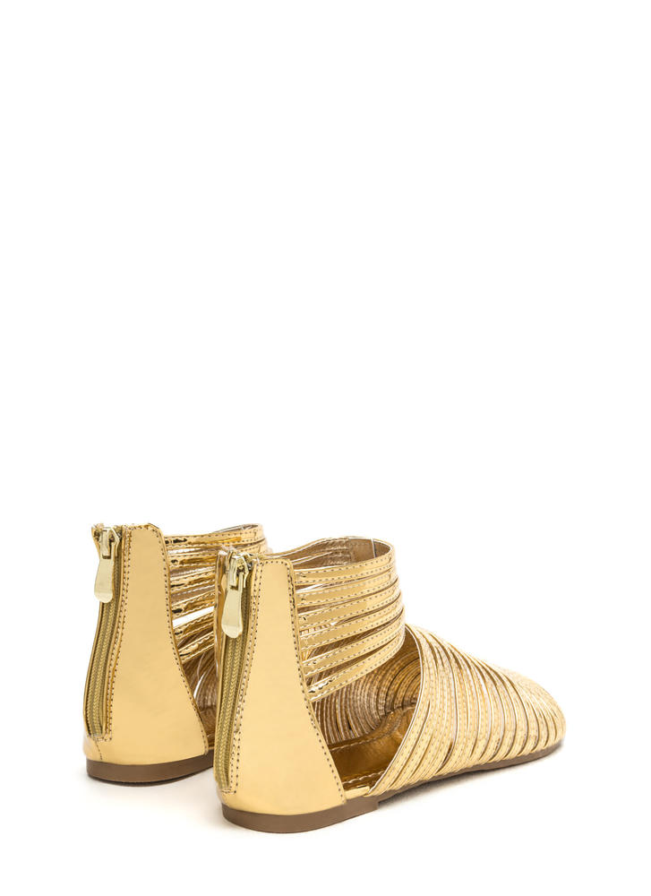 Stacked In Your Favor Metallic Sandals GOLD