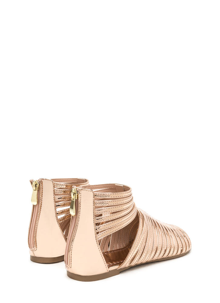 Stacked In Your Favor Metallic Sandals ROSEGOLD