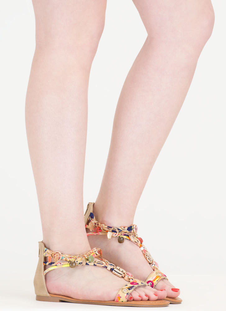 Precious Stone Embellished Print Sandals