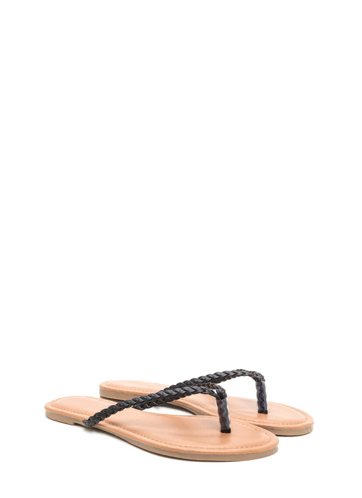 First Braid Faux Leather Thong Sandals BLACK