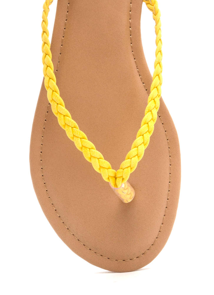 First Braid Faux Leather Thong Sandals YELLOW