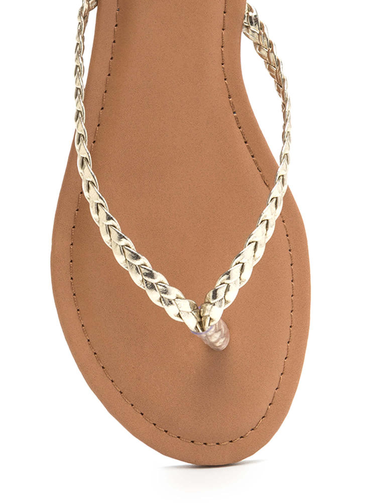 First Braid Metallic Thong Sandals GOLD