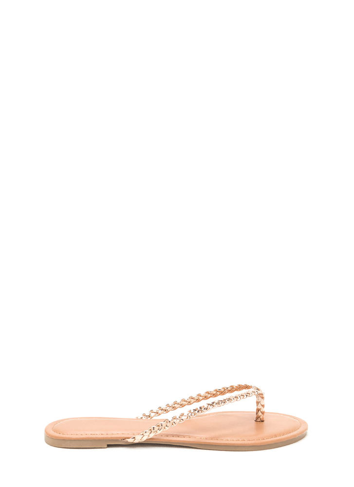 First Braid Metallic Thong Sandals ROSEGOLD