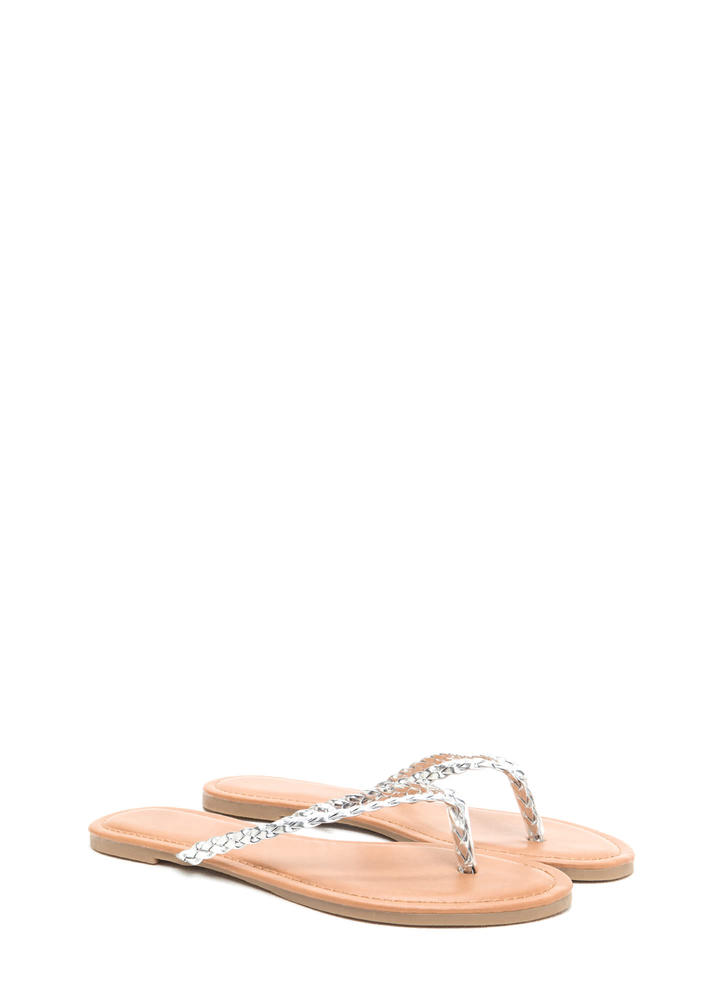 First Braid Metallic Thong Sandals SILVER
