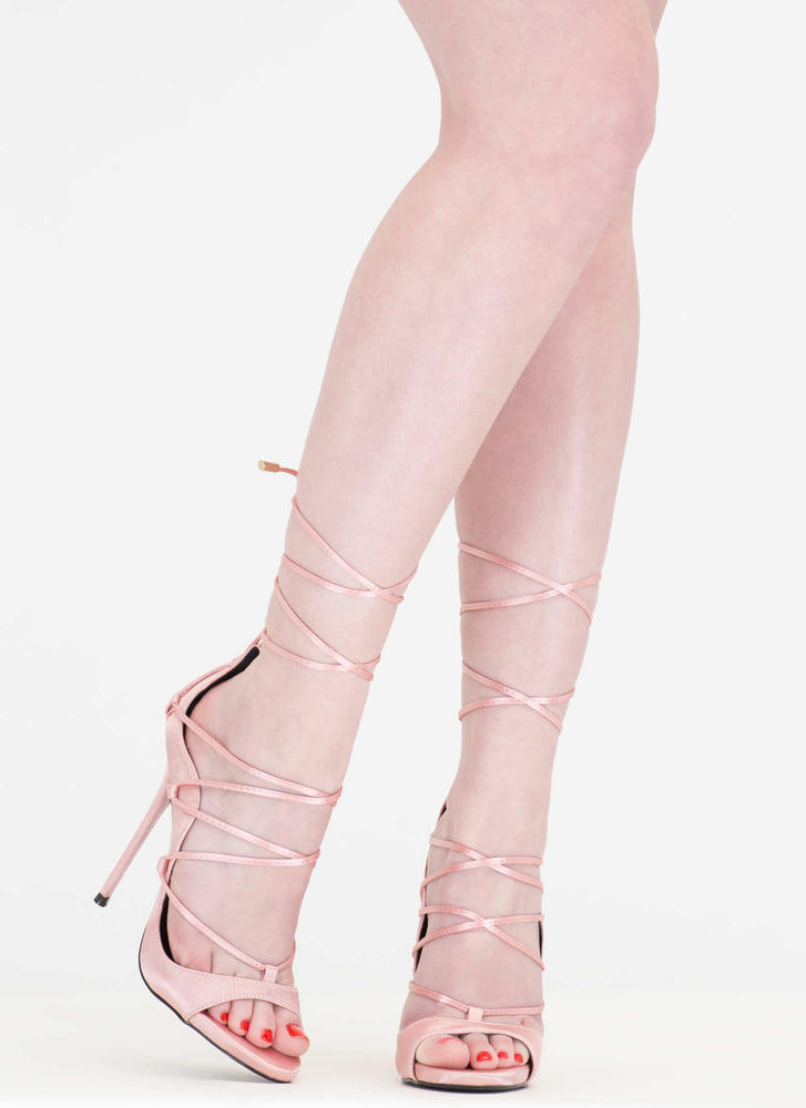 It Comes In Waves Curvy Lace-Up Heels BLUSH
