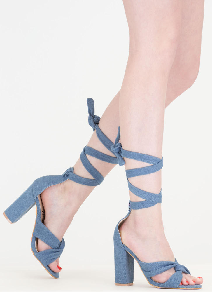 So Twisted Chunky Lace-Up Denim Heels