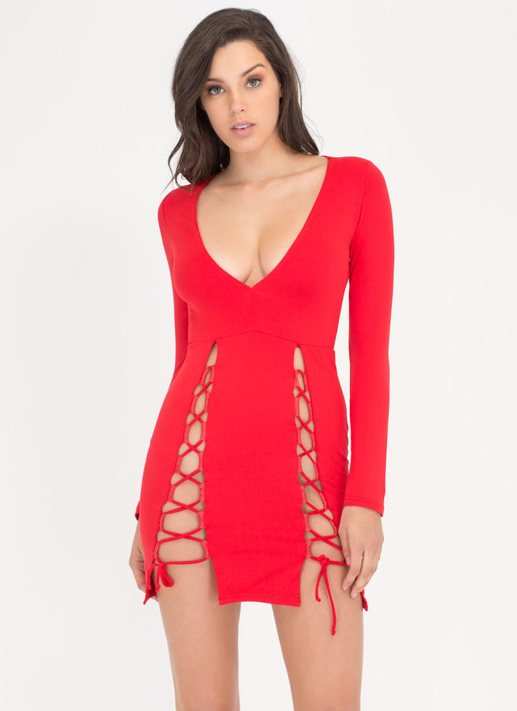 Haute Date Night Lace-Up Minidress RED