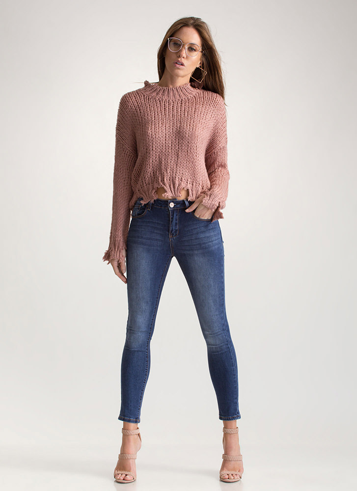 Cozy Ticket Chunky Distressed Sweater MAUVE