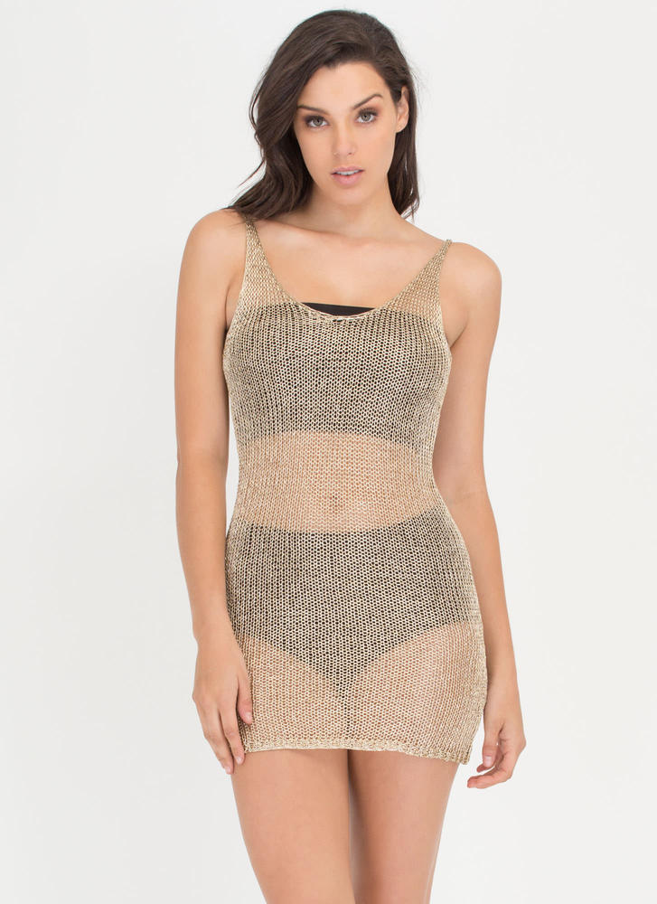 Take A Dip Sheer Metallic Minidress