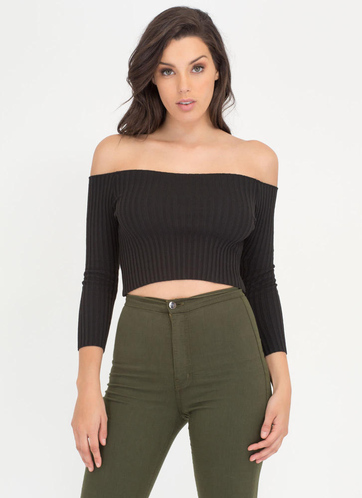 Little Things Ribbed Off-Shoulder Top