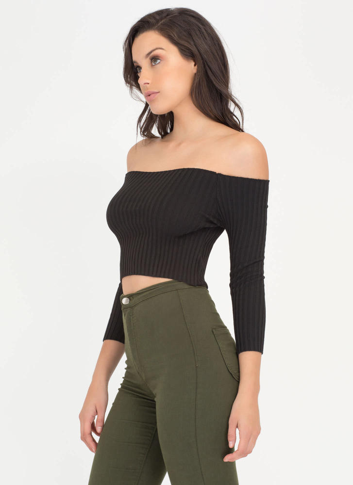 Little Things Ribbed Off-Shoulder Top BLACK