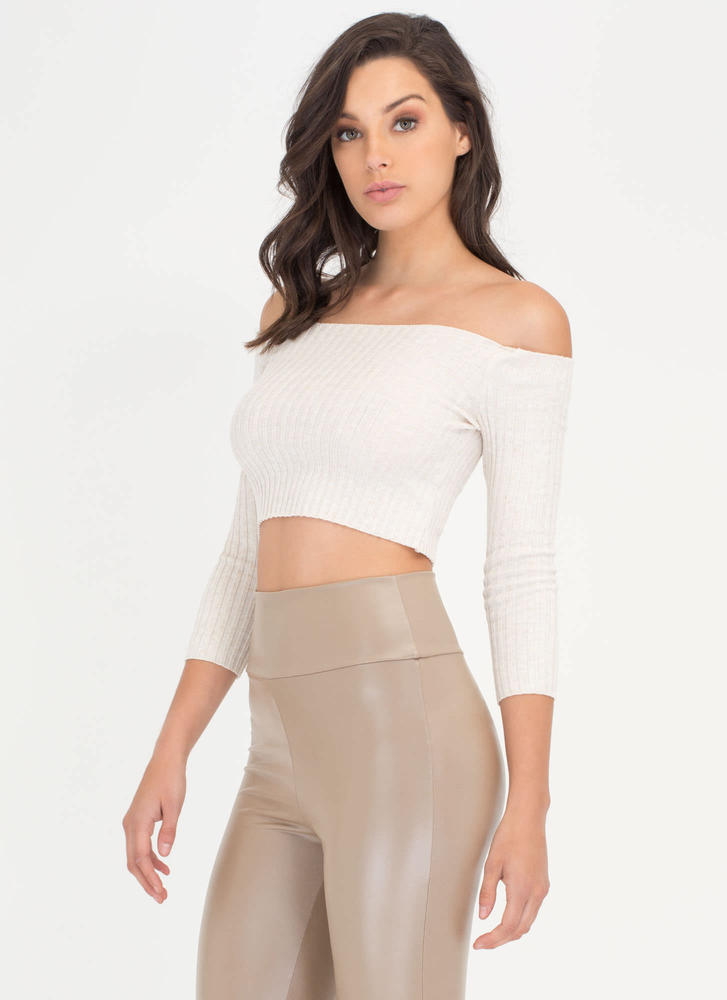 Little Things Ribbed Off-Shoulder Top OATMEAL