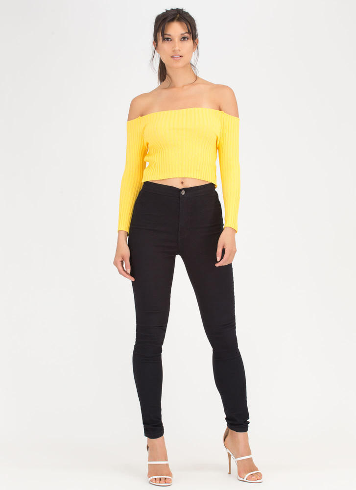Little Things Ribbed Off-Shoulder Top YELLOW