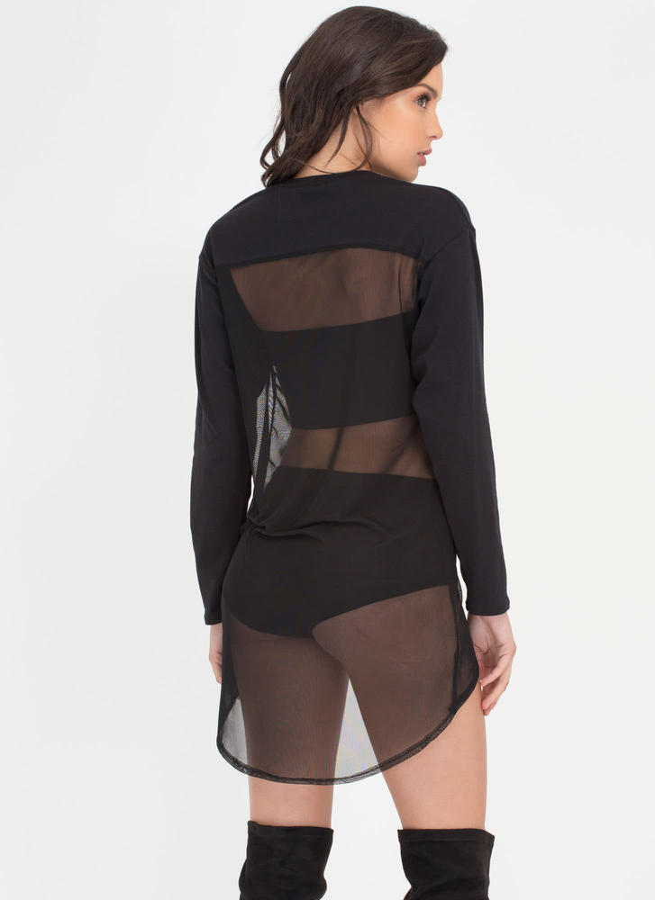 Halfway There Sheer High-Low Top BLACK