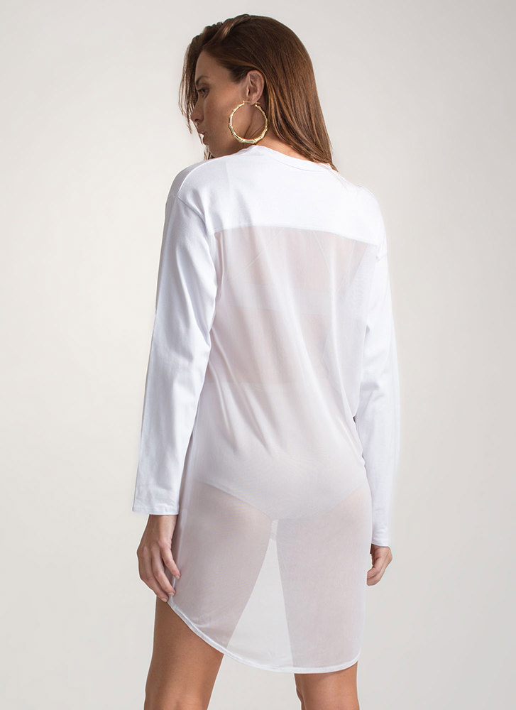 Halfway There Sheer High-Low Top WHITE