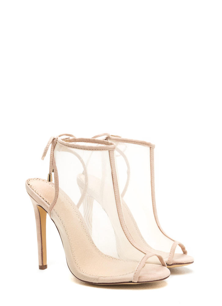 I See You Mesh Net Lace-Back Heels NUDE