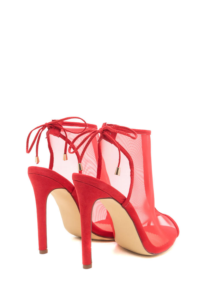 I See You Mesh Net Lace-Back Heels RED
