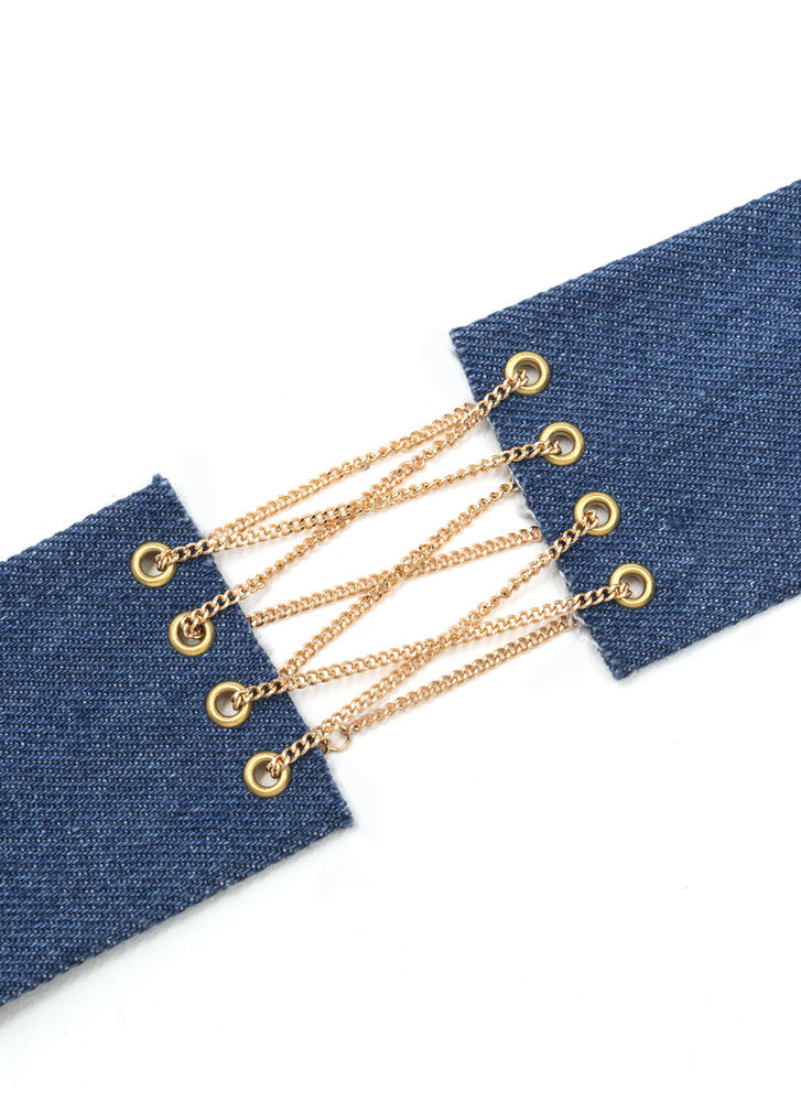 Rare Jean-ius Lace-Up Chain Choker BLUE