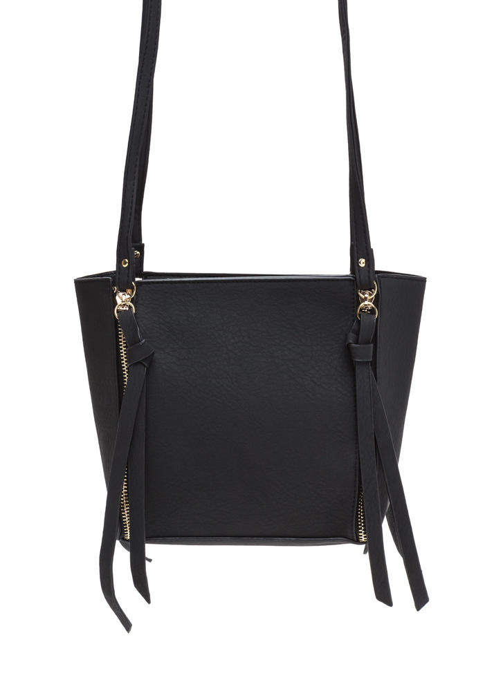 All Four It Zippered Faux Leather Bag BLACK