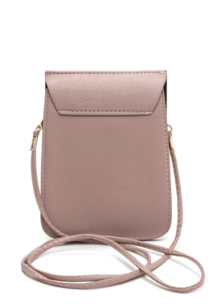 Ring Together Faux Leather Clutch PINK